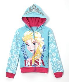 Take a look at this Aqua Frozen Elsa Hoodie - Girls on zulily today!