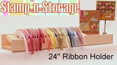 """24"""" Wall Mount Ribbon Holder; check out the magnet bookends to keep ribbon upright! Magnet also allows card display area! No more rods full of empty spools because it inconvenient to take everything off and put it all back on! And no more pin holes cuz you don't need pins to keep ribbon on the spool."""