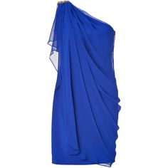 NOTTE BY MARCHESA Cobalt Draped One Shoulder Silk Chiffon Dress ($1,070) ❤ liked on Polyvore