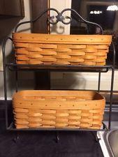 Longaberger Wrought Iron SMALL BAKERS RACK w/ Woodcrafts Top Shelf ...
