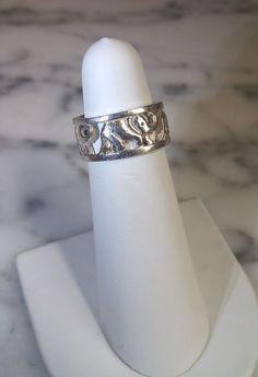 Genuine Sterling Silver Elephant Band Ring Size 6 Marked 925  #Elephant #Ring #Sterling