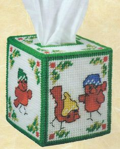 Sale! CHRISTMAS CARDINAL-Tissue Box Cover-NEEDLEPOINT PLASTIC CANVAS-Craftways…