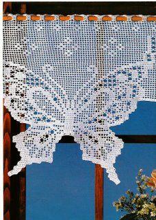 Arte e croche: Cortina borboleta