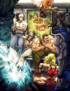 Final Fight Tribute (by Sebastian von Buchwald) Drawing Games, Comic Drawing, Final Fight, Cyberpunk, Gaming Wall Art, Arte Dc Comics, Fan Anime, Video Game Art, Video Games