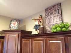 Above cabinet decor - I want to make that cute coffee sign for the side of my coffee bar