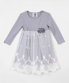 Another great find on #zulily! Gray Lace Rosette Overlay Dress #zulilyfinds