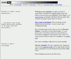 1995 yılındaki bugünün eBay'i olan AuctionWeb.com'dan bir ekran görüntüsü.