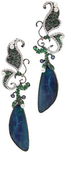 Boulder Opal And Pearl Earrings by WENDY YUE via HauteTramp