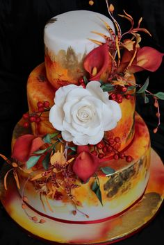 golden orange, autumn floral binding