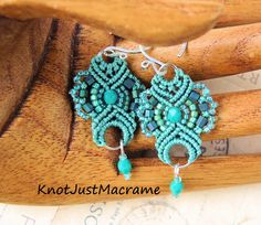 Lacy hand knotted micro macrame earrings in sage by Sherri Stokey.