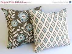SALE Throw pillows covers set of two 20 x 20 Dark Taupe and Smokey Blue Fenton floral and Carnival Diamonds