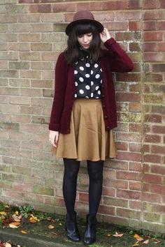 Black Chelsea boots, Crimson cardigan, Mustard skirt