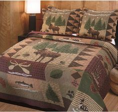 Rustic Moose Quilt Set Lodge Cabin Camping 3 piece pc Cover Comforter Bed KING #Patterned