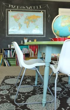 use a round table in he middle of a room instead of rectangle for easier access in a square room