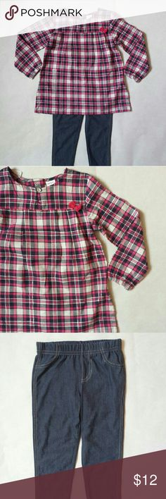 """Plaid tunic jeggings outfit Carter's 3t, nwt Pink plaid blouse tunic and """"denim"""" leggings Carter's Matching Sets"""