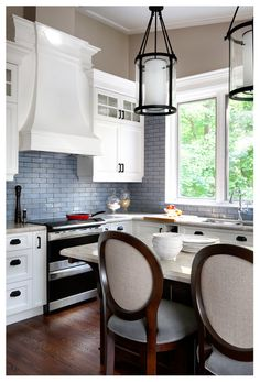 Choose a color that pops against the color of the cabinetry, the ceiling and the backsplash, for maximum impact.