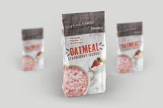 oatmeal package design Package Design, High Protein, Oatmeal, Strawberry, Packaging, Sugar, Food, The Oatmeal, Packaging Design