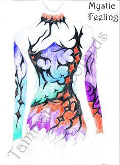 Design for rhythmic gymnastic leotard, created by Tamiraine Leotards Acrobatic Gymnastics, Rhythmic Gymnastics Leotards, Rio Carnival, Pink Design, Skating Dresses, Dance Outfits, Ice Skating, Skate, Fancy