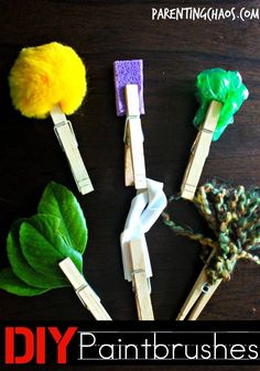 "fun and easy DIY paintbrushes to get your kids creating! use with different ""textures"" of paint for added sensory fun."