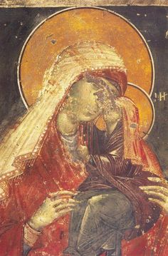 ΑΓ. ΑΝΝΑ (Agia Anna, 14th cent. fresco, Thessaloniki - Ag. Nikolaos Orfanos) Album Art, Mystical Beauty, Art Appreciation, Byzantine Art, Paint Icon, Madonna Art, Byzantine Icons, Art Thou, Sacred Art