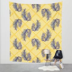 Hand-drawn tropical palms, turn into a vector illustration on geometric yellow pattern background. From ink pen hand drawing by DesigndN.