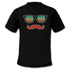 Mens Light Up T-shirt Sound and Music Activated Equalizer LED EL Velcro Panel Machine Washable Party Bar Raver Festival 2015 – $17.99