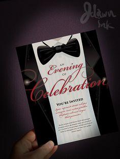 Invitation black tie wedding