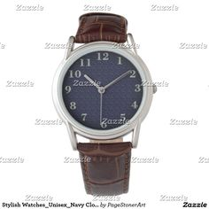 Stylish Watches_Unisex_Navy Cloth & Pewter(c) Wristwatch