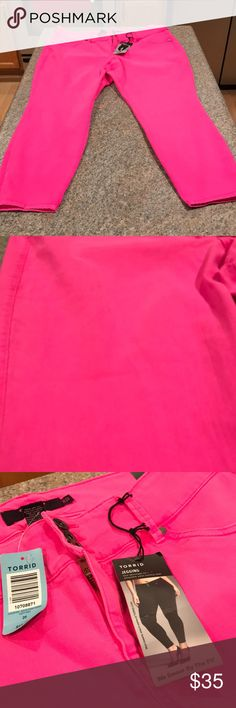 Torrid Jeggings - size 20S NWT Neon pink torrid jagging's. These are amazing. If you love pink you'll love these pants. Size 20 S.  18.5 inches waist line flight nine stretched, 38.5 inch total length and 26 inch inseam. Torrid Pants