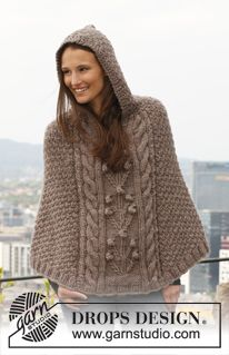 """Lulu - Knitted DROPS poncho with cables and textured pattern in """"Eskimo"""". Size: S - XXXL. - Free pattern by DROPS Design"""