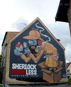 Street-art - Sherlock Homeless par Mr Thoms