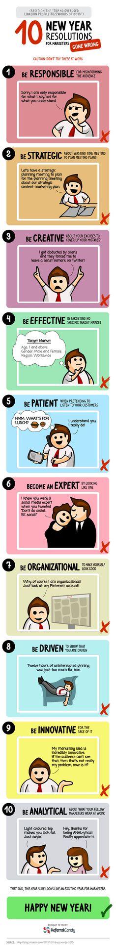 10 propósitos de Año Nuevo en Marketing, que pueden terminar mal