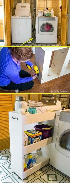 Slide a DIY slim cart into the tiny space between your washer and dryer.