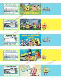 Spongebob Water Bottle Label, Custom Water Bottle Label- Spongebob Squarepants Birthday Party- Personalized Party Invites DIY