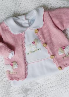 Girl Sheep Crochet Sweater - Little English, classic children's clothing, preppy children's clothing, traditional children's clothing, classic baby Crochet Sheep, Hand Crochet, Crochet Baby, Crochet Playsuits, Baby Girl Sweaters, Baby Cardigan, Girls Bows, Baby Knitting, Kids Outfits