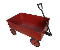Carro vintage en forja con ruedas - rojo