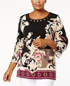 JM Collection Plus Size Mixed-Print Grommet Tunic, Created for Macy's