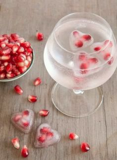 Pom seeds in heart ice cubes.. sounds fun for valentine's day :)