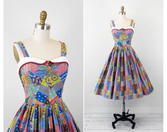 vintage 1950s 50s dress // Blue and Orange Patchwork Print Cotton Sundress with White Collar