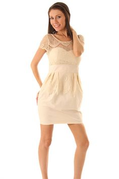 Chantilly Lace Empire Mini Party Dress