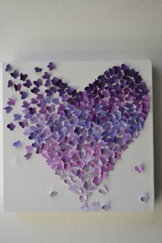 Purple Ombre Butterfly Heart/ 3D Butterfly Wall Art / by RonandNoy, $50.00