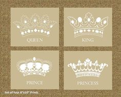Home Decor Prints of a King Queen Prince and Princess Art Prints by SIMPLEHOMELIVING, $55.00
