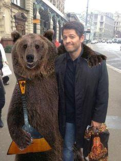 Misha with a new friend.