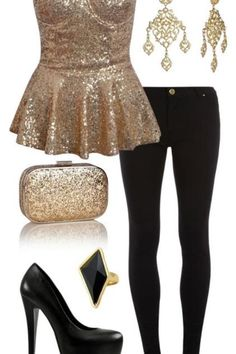 Great outfit--sequined gold peplum top, black skinny pants, gold chandelier earrings, and black pumps.