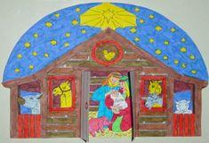 Jozef en Maria met Jezus bij de stal. www.gelovenisleuk.nl