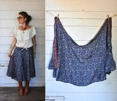 SILK Indian Wrap Around Skirt Ethnic Tribal India by LaDeaDeiSogni, $27.00