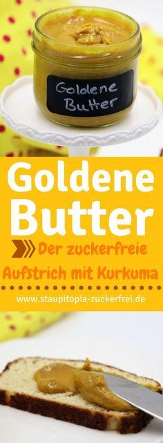 Goldene Butter - Ein gesunder Brotaufstrich als Pendant zur goldenen Milch: Die wundervollen Zutaten der goldenen Milch lassen sich wunderbar in einen köstlichen, zuckerfreien Brotaufstrich aus Mandeln und Kurkuma verwandeln. Ein Rezept für ein Frühstück ohne Zucker, dass du unbedingt ausprobieren musst!