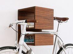 KAPPÔ Bike Shelf Walnut - to finally store my bike Solid Wood Furniture, Furniture Design, Bicycle Hanger, Indoor Bike Rack, Bike Wall Mount, Bike Shelf, Bicycle Storage, Furniture Making, Home Deco