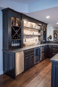 Family Home Update: Basement Living Area + Bar Wet Bar Basement, Basement Bar Plans, Basement Kitchenette, Basement Bar Designs, Modern Basement, Basement Makeover, Basement House, Basement Renovations, Basement Finishing