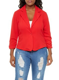 Rainbow Shops Plus Size Textured Knit Blazer with Ruched Sleeves $22.99